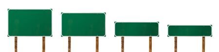 Set of Different Sized Blank Green Road Signs Isolated on a White Background.