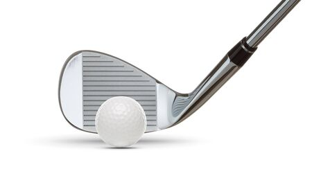 Chrome Golf Club Wedge Iron and Golf Ball on White Background.