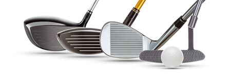 Golf Driver Woods, Iron Wedge, Putter and Ball on White Background. 免版税图像