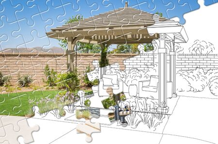 Puzzle Pieces Fitting Together Revealing Finished Pergola Gazebo Build Over Drawing.