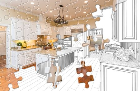 Puzzle Pieces Fitting Together Revealing Finished Kitchen Build Over Drawing. Stockfoto