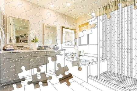 Puzzle Pieces Fitting Together Revealing Finished Bathroom Build Over Drawing.