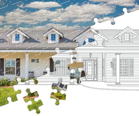 Puzzle Pieces Fitting Together Revealing Finished House Build Over Drawing.