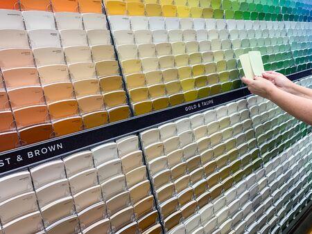 Le client visualise des échantillons de peinture dans un magasin de peinture au rack d'échantillons colorés. Banque d'images