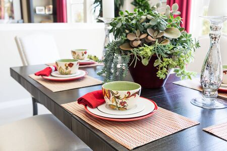 Abstract of Dining Table with Place Settings. 스톡 콘텐츠 - 138473571