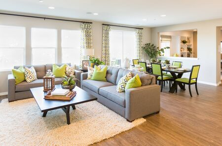 Beautiful Open Concept Interior Living Room of House.