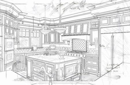 Beautiful Custom Kitchen Design Line Drawing Details. Foto de archivo