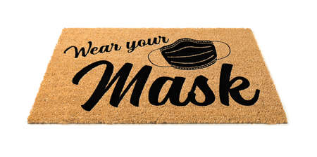 Wear Your Mask Welcome Door Mat Isolated on White Background.
