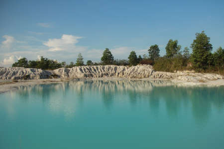 kaolin: Kaolin Lake, formed from limestone hill curvatures, located in Belitung Islands, Indonesia