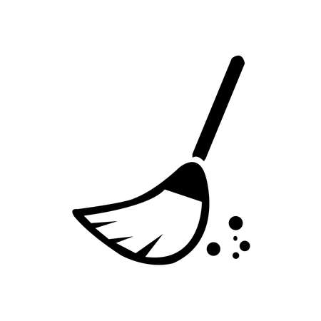 Silhouette of Broom on White Background