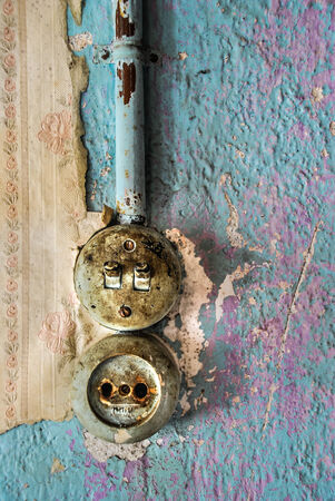 moulder: Old house switch Stock Photo