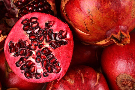 orginal: Many Pomegranate ant only one half Stock Photo