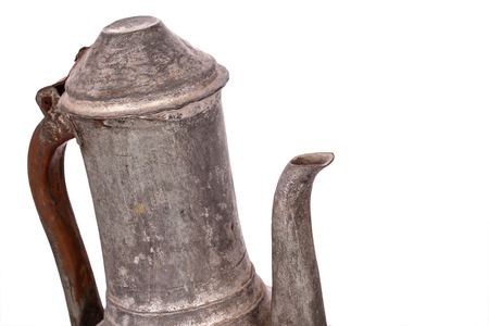 Antique copper jug on the white background Stock Photo