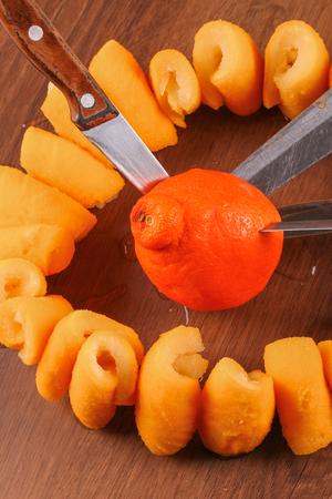 citrus aurantium: The Seville Orange Jam Part on The Wood Stock Photo