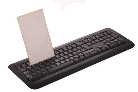 computer peripheral: The Letter on The Keyboard Technology ?deas Stock Photo