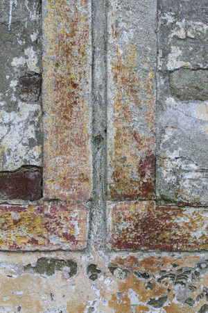 building feature: This is a very old building part or textured. Stock Photo