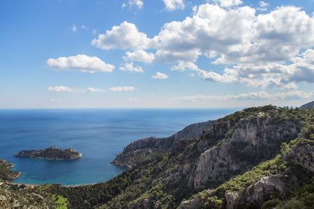 Beautiful seaside with island on the way to Karia in Turkey.