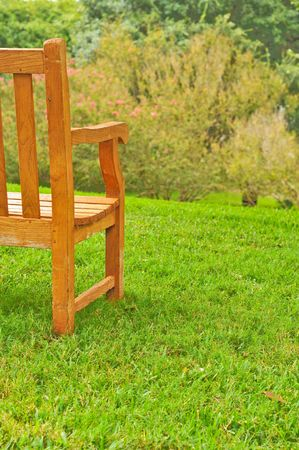Empty wood bench on grass overlooking trees