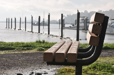 pilings: Bench with pilings in the background