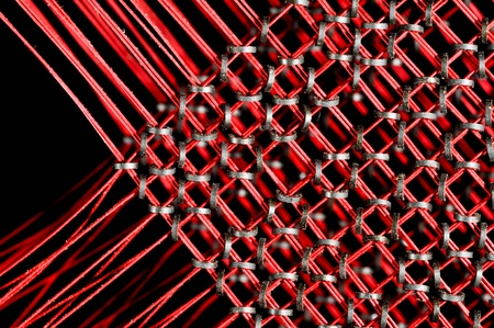 Core memory with wires form the memory of an old computer Stok Fotoğraf