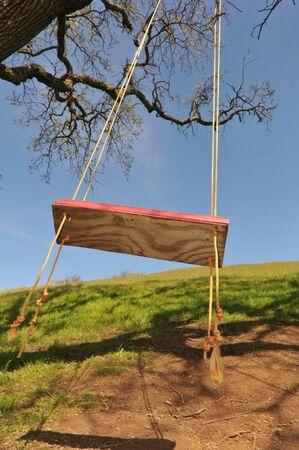 swing seat: Capoluogo di oscillazione albero rosso pende da un ramo di quercia grande con funi Archivio Fotografico