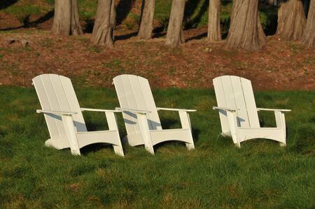 Three chairs sit in a field with a forest of trees in the background Stock Photo - 12462660