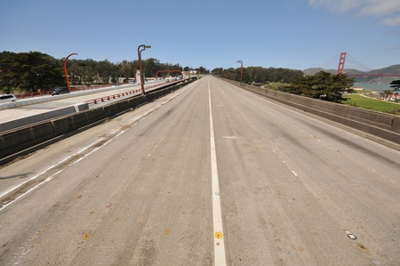 The old Doyle Drive roadway or freeway approach to the Golden Gate Bridge is abandend  photo