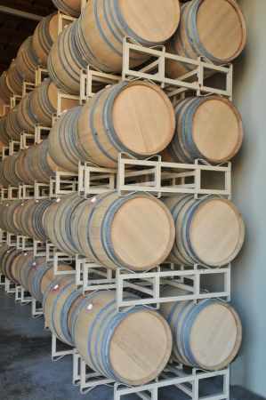 Oak barrels rest on metal racks waiting to be filled with wine