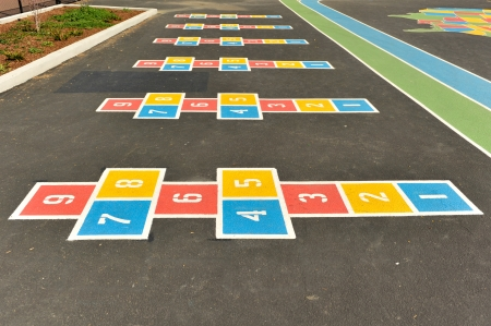 school playground: A painted pattern on a playground for kids to have fun with Stock Photo