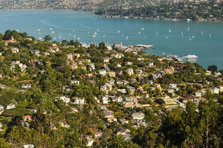The town of Sausalito, CA  USA with Richardson Bay in the background