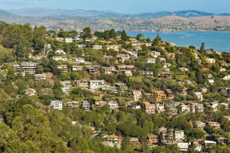 The town of Sausalito, CA  USA with Richardson Bay in the background photo