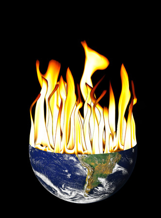 judgement day: Earth globe with flames coming out to represent global warming