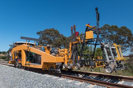 railroads: Machine used on railroads for maintenance Stock Photo