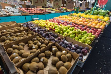 roadside stand: Roadside fruit stand displays many different fruits Stock Photo