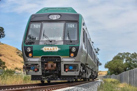 San Rafael, California � June 10, 2016 : SMART (Sonoma Marin Area  Rail Transit) train testing of new cars on new rails.
