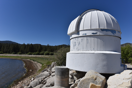 bear lake: Big Bear Lake, California, June 16, 2016 The Big Bear Solar Observatory Ash Dome with the lake level down 14 feet from normal.