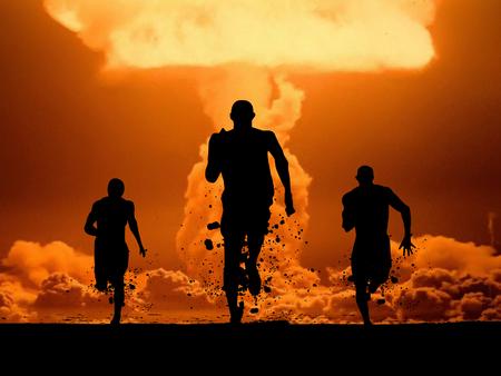原子力に対して人々 を実行します。 写真素材