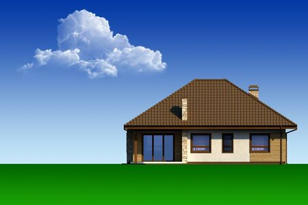 country house: Country house on the background of blue sky and clouds.
