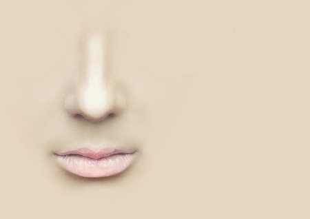 nostrils: Female nose and lips on the physical background.