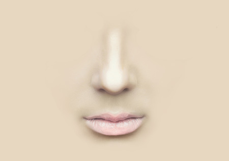 nostrils: Female nose and lips against the background of the skin.