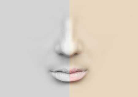 nostrils: Female nose and lips for illustration. Stock Photo