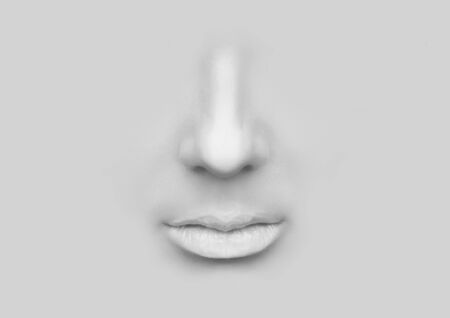 nostrils: Female nose and lips on a gray background.