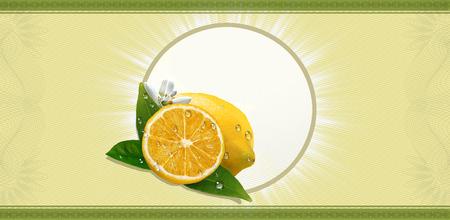 Lemons, label for beverage. Stock Photo