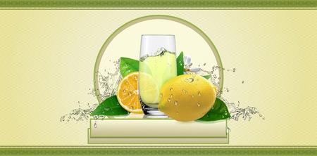 lemons: Lemons, label for beverage. Stock Photo