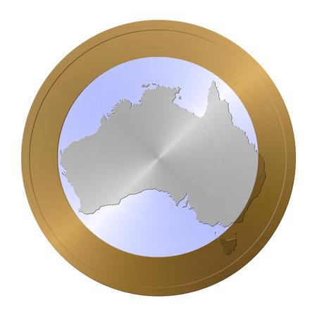 mainland: Silhouette Of Australia Stock Photo
