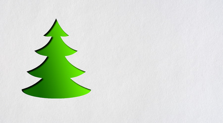 drawing paper: Green tree on a grey background.