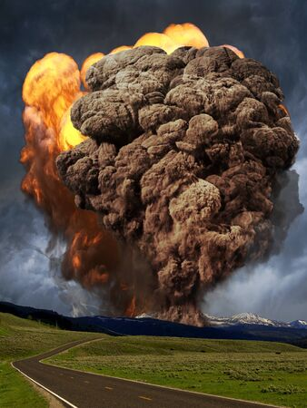 Explosion of a volcano.