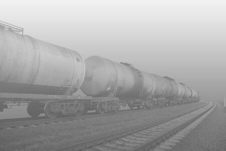 cross ties: Rail transportation of oil products Stock Photo