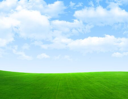 field and sky: Campo verde, el cielo, las nubes.