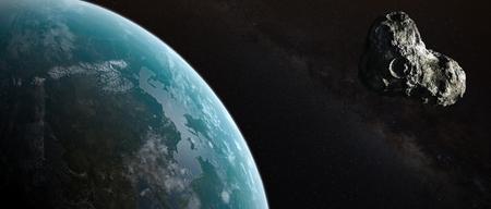 asteroid: Asteroid flight at Earth. Stock Photo